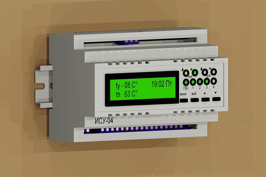 Погодозависимый контроллер для котельной ИСУ-04 УПРАВЛЕНИЕ КОТЛОМ 4 КОНТУРАМИ + ГВС